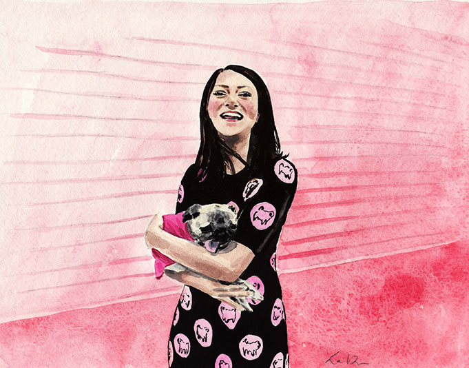 girl-and-her-dog-against-pink